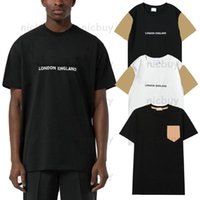 Designer brand clothing mens T-shirts Classic letter print patchwork checked grid plaid tshirt t shirt LONDON ENGLAND Tees Casual cotton Top