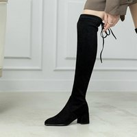 Boots Black Sexy Over The Knee Women High Heels Shoes Ladies Thigh Winter Kid Suede Long Female Shoe Size 43