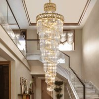 60cm 70cm 80cm 100cm contemporary  gold long crystal stair chandelier lights high ceiling led pendant lamp for villa hotel decoration