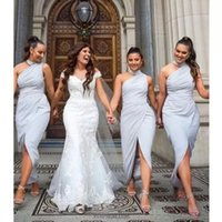 2022 Designer Dusty Blue Bridesmaid Dresses High Neckline Ruched Sleeveless Mermaid Ankle Length Plus Size Maid of Honor Gown Country Wedding Front Slit vestidos