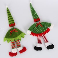 Christmas Red Wine Bottle Cover Xmas Decor Polka Dot Stripe Wine Bottle Bags For Home Party Decorations Supplies CCB10907