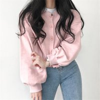 Autumn Winter Gray Pink Jacket For Women 2021 Casual O-Neck Single Breasted Cardigan Female Korean Fashion Short Outerwear Women's Jackets