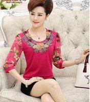 Women's Blouses & Shirts Blusa feminina de meia-ida com cote redondo bordado manga prida, costura + chiffon, camisa tamanho THQ9