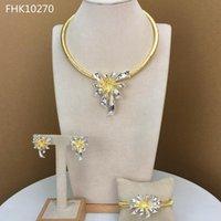 Brincos Colar Yuminglai Flor Design Luxo Moda Jewlry Set para Mulheres Africano Jóias FHK10270