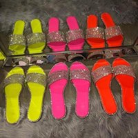 Slippers Sparkling Rhinestone Candy-colored 2021 Women Home Flip Flop Casual Shoes Snakeskin Diamond Flat Outdoor Wild Sandals