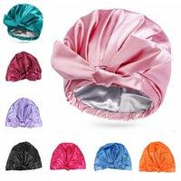 Shower Bath Caps for Women Waterproof Double Layers Solid Color Satin Hair Bonnet Adjustable Thicknesses Bathing Showercap 8 Colors GWA8636