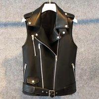 Mulheres Faux LAUX LAUTARO Curto Primeira Primavera Vest Mulheres Zipper Plus Size Sem Mangas Motociclista Jaqueta Colete Gilet 5XL 6XL 7XL
