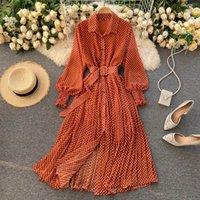 Bahar ve Yaz Fransız Vintage Maxi Elbise 2021 Sundress Bayanlar Uzun Kollu Turuncu Polka Dot Şifon Pileli Elbiseler Femme Robe