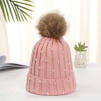 Beanie Skull Caps Autum Winter Wool Ball Knitted Hat Woman Retro Pearl Sweet Striped Bucket Cute Ear Protection Warm Headwear