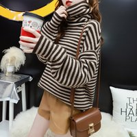 Sweater Knit Pile Collar Women's High Neck Loose Lazy Wind Pullover Autumn and Winter 2021 Inner Striped ted Bottom Shirt