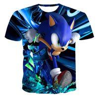 2021 Hombre de verano Historieta Sonic Hedgehog T Shirt Azul 3D Impreso Girls Streetwear Niños Ropa Niños Bebé Tshirt O-Cuello