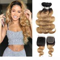 Paquetes de pelo brasileño Ombre Blonde Body Wave con color de cierre 1b27 3 paquetes con cierre de encaje 4x4 Extensiones de cabello humano Remy sin procesar