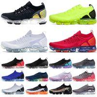 Nike Air Vapormax 1.0 Flyknit Vapourmax Vapor Max 2.0 TN Plus Moc Laceless Koşu Ayakkabıları Erkekler Kadınlar Üçlü Beyaz Gerçek Kırmızı Pembe Mens Bayan Spor Sneakers Boyutu 36-45