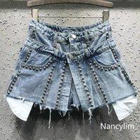 Damen Shorts Nancylim 2021 Frühling und Sommer Persönlichkeit Gefälschte Zwei Teile Jeans Frauen Perlen Hohe Taille Denim Kurze Rock Studenten