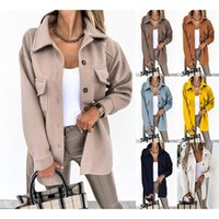 Women's Wool & Blends Women Casual Pocket Lace-Up Outwear 2021 Autumn Winter Fashion Lapel Single-Breasted Thick Coats Solid Color Woolen Lo