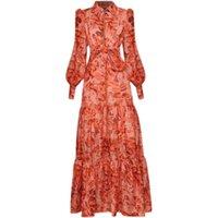 Повседневные платья Didachark Высокое Качество Длинное платье Мода Весна Женская Старинная Элегантная Ослаждая Кнопка Печати