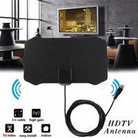 Indoor Digital TV Antennas Signal Receiver Amplifier TVs Radius Surf Fox Antena HDTV Antenas Aerial Mini DVB-T T2 80 Miles 1080P