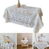 Rectangular Coffee Table White Lace Tablecloth Picnic Dessert Cover Decor P82C Cloth