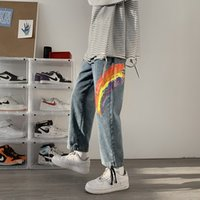 Men's Jeans Raiow Print Lovers' Trend Loose and Versatile Straight Tube Wide Leg Leggings