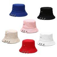 النساء الرجال المتناثرة الهيب هوب بلون دلو قبعة هات ارتفع المسامير حلقات معدنية في الهواء الطلق واسعة بريم واقية من الشمس الصياد كاب القبعات