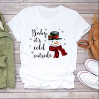 Cartoon Plaid Snowman Snowflake Trend Women T Shirt Merry Christmas Print Tshirts Clothes Graphic Female Top Ladies Tee