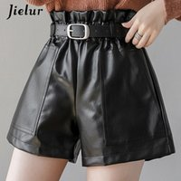 Jielur PU autunno autunno inverno pantaloncini pantaloncini sottili a vita alta colore solido pantaloncini da donna chic cintura coreana in pelle corto pantaloni S-XL 210408