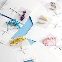 بطاقات المعايدة الزهور الجبسوفيلا الزهور المجففة بخط اليد نعمة تحية بطاقة هدية عيد بطاقة دعوات الزفاف HHA5022