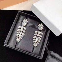 Elegant Bling Diamond Dangle Earrings Stud Fashion Luxury Designer Eardrop Earring Bijoux For Women Lady Party Wedding Lovers Gift Engagement Jewelry With Box