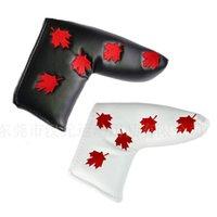 Arce hoja bordado golf putter cover canadá bandera pala de golf cabecera PU cuero blanco y negro 2colors 557 x2