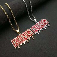 Pendant Necklaces Hip Hop Iced Out Bling Letter KING Cubic Zircon Stainless Steel Chains For Women Man Hiphop Jewelry