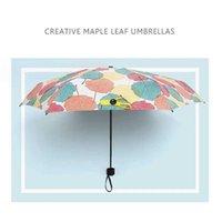 Umbrellas Ultra-light Folding Mini UV Protection Sun Fashion Print 5-fold Rain Wear-resistant Womens Pocket Umbrella