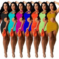 Casual Dresses Women Solid Cut Out Drawstring Mini Dress Summer Slim Ruched Backless Club Night Birthday Bodycon Outfits 2021