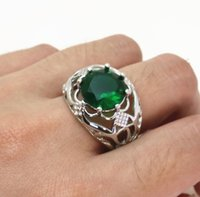Retro Ring Copper Plated S925 Silver Large Loose Diamond Zircon Hollow and Rolling Pattern Body Jewelry gem