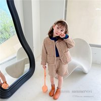 Fall winter girls plaid woolen clothing sets kids round collar single breasted long sleeve outwear+loose shorts 2pcs children lattice outfits Q2785