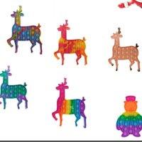 Feliz Natal Push Pioneer Rainbow Fidget Brinquedos Bolhas Crianças Elk Snowman Desktop Xmas Descompression Silicone HWD9986