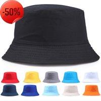 Yeni Çift Kap Taşınabilir Moda Katı Renk Katlanır Balıkçı Güneş Pamuk Şapka Açık Erkekler Ve Kadınlar Çok Sezon Kova