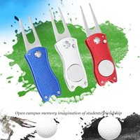 Golf Training Aids Mini Foldable Divot Tool With Ball Marker Pitch Cleaner Pitchfork Accessories Putting Green Fork