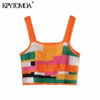 Women's Tanks & Camis KPYTOMOA Women 2021 Fashion Patchwork Cropped Crochet Knit Tank Tops Vintage Backless Wide Straps Female Mujer
