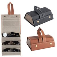 Slots Foldable PU Leather Sunglasses Eyeglasses Travel Organizer Case Display J78F Jewelry Pouches, Bags
