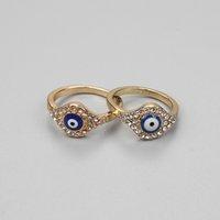 محظوظ العين الذهب الشر الدائري التركية الكريستال الدائري للرجال النساء الأزياء والمجوهرات EY75