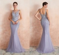Handmade Evening Dresses Beaded Prom Dress Party Gown Backless Zipper Back