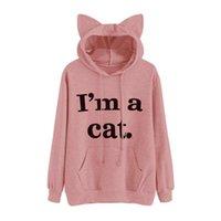 Women's Hoodies & Sweatshirts I'm A Cat Letter Print Ear Hoodie Regular Full Sleeve Sweet Hooded Pullover Autumn Women Girl Sweatshirt Large