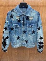 Mens Designer Jean Jacket Outwear black Leather pentacle embroidery Jackets locomotive Coat Outside Men Clothing