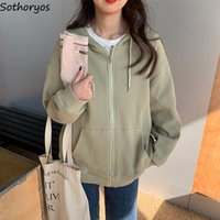 Women's Jackets Basic Hooded Women Casual Fashion Front Pocket Teen Girls Preppy High Quality Waffle Outwear Ins Chic Solid Coats Autumn