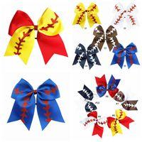 10 Cores Softball Headball Headband Menina Beisebol Cheer Hairbands Rugby Bowknot Dovetail Cabelo Arcos Acessórios Borracha Faixa 778 T2