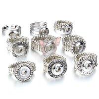 Crystal Snap Button Bague 12mm Boutons Bijoux Bijoux Ajustables Mini Anneaux pour femmes Cadeau
