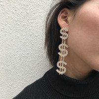 Hot Fashion Jewelry Dollar Sign Dangle Earrings Full Rhinestone Exaggerated Earrings Statement Jewelry for Women