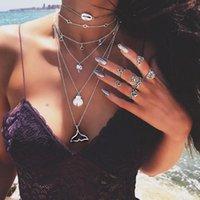 قلادة القلائد إعادة الأزياء متعدد الطبقات شل حورية البحر الذيل قلادة المرأة بوهو مجوهرات فضة اللون سترة سلسلة خمر المختنق