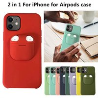 2in1 AirPods Earphone Cases Cell Phone Case Liquid Silicone+Plastic Back Cover for iP 12 11 Pro XR XS MAX 7 8 Plus