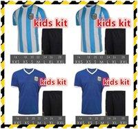 Kit Kit MARADONA Argentina Retro Fútbol Jerseys 1986 Vintage Classic Child Sets Camisas de fútbol 86 Boys Trajes